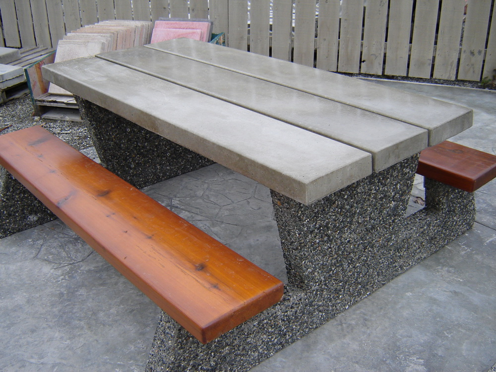 Federal parks style picnic table mackay precast products for Outdoor furniture mackay